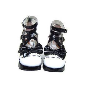 可愛い ブラックとホワイト ハイヒール 合皮 ゴム底 クロス・アンクルストラップ リボン ゴスロリ靴