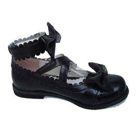 ゴスロリ靴 クロス·アンクルストラップ リボン·ブラック·ホワイト