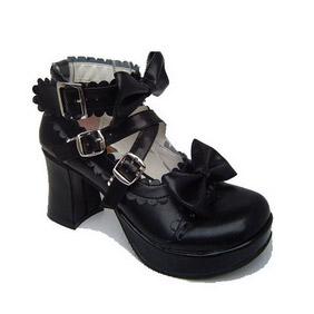 ゴスロリ靴 クロス·アンクルストラップ リボン·ハイヒール·ブラック·ホワイト·ピンク·ブルー·紫·レット·ブラックとホワイト