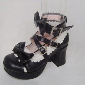 可愛い ブラック ハイヒール 合皮 ゴム底 リボン バックル ゴスロリ靴