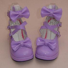 可愛い 紫 8cm 合皮 ゴム底 クロス・アンクルストラップ リボン ゴスロリ靴