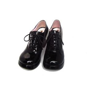 クラシック ブラック 8cm 合皮 ゴム底 レースアップ ゴスロリ靴