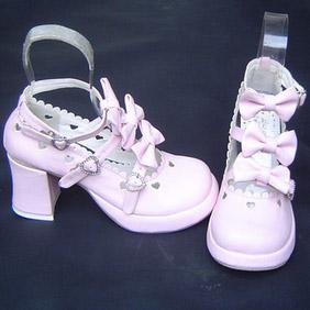 可愛い ピンク 8cm 合皮 ゴム底 クロス・アンクルストラップ リボン ゴスロリ靴