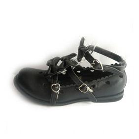可愛い ブラック フラット 合皮 ゴム底 クロス・アンクルストラップ リボン三個 ゴスロリ靴