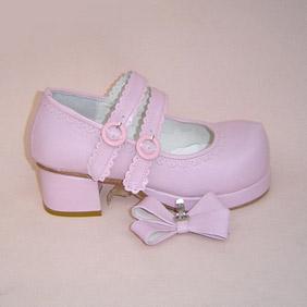 可愛い ピンク 5cm 合皮 ゴム底 ダブルストラップ ゴスロリ靴