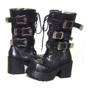 Pretty Black 1.2'' Heel Buckle Lolita Boots
