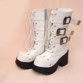 Pretty White 1.2'' Heel Buckle Lolita Boots