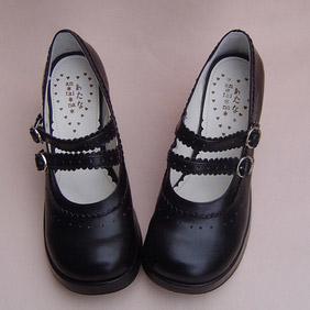 可愛い ブラック 8cm 合皮 ゴム底 ダブルストラップ ゴスロリ靴