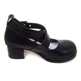 可愛い ブラック ハイヒール 合皮 ゴム底 クロス・アンクルストラップ ゴスロリ靴