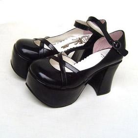 可愛い ブラック 8cm 合皮 ゴム底 バックル ゴスロリ靴