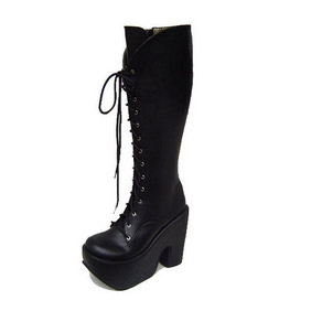 Cute Black 1.6'' High Heel Long Platform Lolita Boots