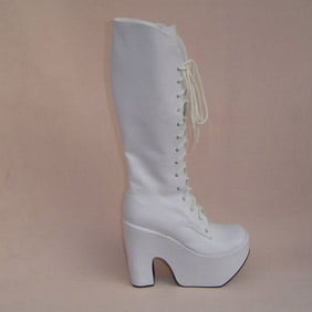 Cute White 1.6'' High Heel Long Platform Lolita Boots