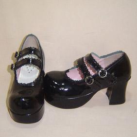 ゴスロリ靴 ハイヒール·ダブルアンクルストラップ·ブラック·ホワイト