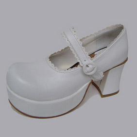 可愛い ホワイト ハイヒール 合皮 ゴム底 ダブルストラップ ゴスロリ靴