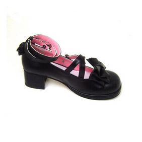 可愛い ブラック 5cm 合皮 ゴム底 クロス・アンクルストラップ リボン ゴスロリ靴