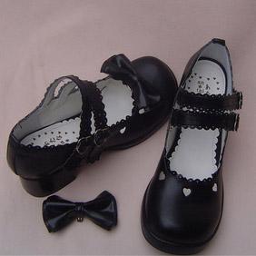 ゴスロリ靴 ダブルアンクルストラップ·リボン·ブラック·ホワイト