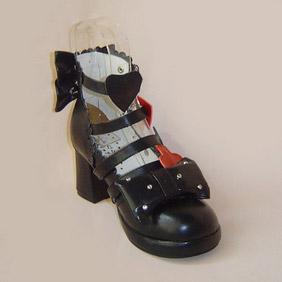 可愛い ブラック 6.5cm 合皮 ゴム底 バックル ハート ゴスロリ靴