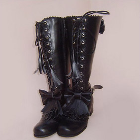 Pretty Black /Pink 1.2'' Low Heel Lolita Boots