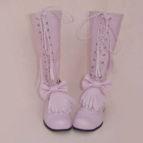 Beautiful Pink 1.2'' Low Heel Lolita Boots