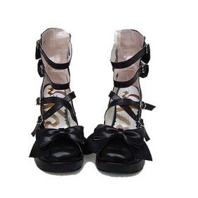 可愛い ブラック ハイヒール 合皮 ゴム底 ワンストラップ ゴスロリ靴