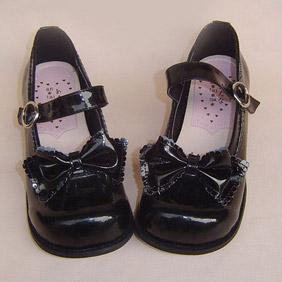 可愛い ブラック ハイヒール 合皮 ゴム底 リボン ゴスロリ靴