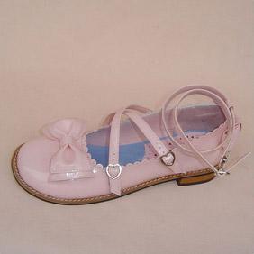 可愛い ミードピンク フラット 合皮 ゴム底 リボン ゴスロリ靴