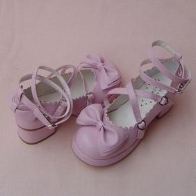 可愛い ピンク 4.5cm 合皮 ゴム底 リボン ゴスロリ靴