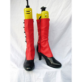 Black Butler Kuroshitsuji Angelina Jolie Madam Red PU Leather Cosplay Boots