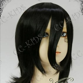 Black Bleach Kuchiki Rukia Mid-Long  Nylon Wavy Cosplay Wig
