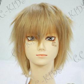 Blonde  Hakuouki kazama chikage Short Nylon Cosplay Wig