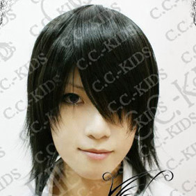Black  DOLLS Kagami  Motochika Short Nylon Cosplay Wig