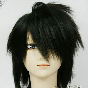 Black DEATH NOTE  L. Mid-Long Nylon Cosplay Wig
