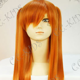 Orange  EVA Neon Genesis Evangelion Asuka Long Nylon Straight Cosplay Wig