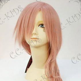 Pink  Final Fantasy XIII  Lightning Long Nylon Wavy Cosplay Wig