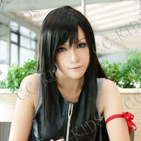 Black 50cm Final Fantasy VII  Tifa Lockhart Nylon Straight Cosplay Wig