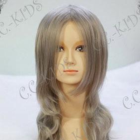 Gray  Ayakashi Bakeneko Medicine Seller Long Nylon Wavy Cosplay Wig