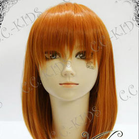 Orange Umineko no Naku Koro ni  Eva Ushiromiya Mid-Long Nylon Straight Cosplay Wig