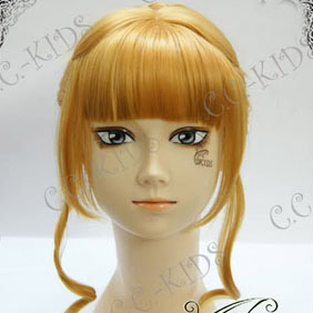 Blonde Umineko no Naku Koro ni  Beatrice Long Nylon Cosplay Wig bun