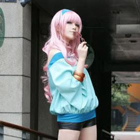 Pink  Macross Frontier Shery Long Nylon Wavy Cosplay Wig