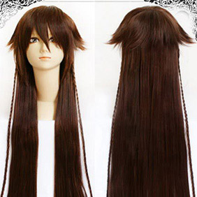 Brown Pandora Hearts Alive Black rabbit  Long Nylon Straight Cosplay Wig
