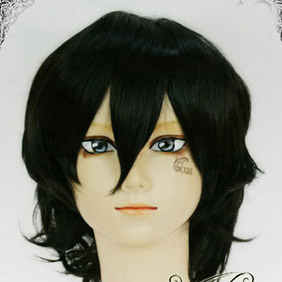 Black  Pandora Hearts Gilbert Nightray Short Nylon Cosplay Wig