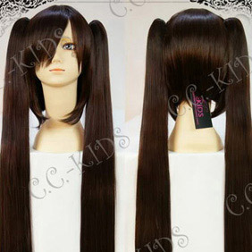 Brown Pandora Hearts  Alice  Black rabbit twin tail Long Nylon Straight Cosplay Wig