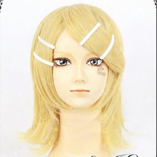 Vocaloid 鏡音リン ゴールド  耐熱新素材 ショート ボブ ふんわり コスプレウィッグ