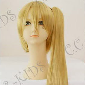 Blonde Vocaloid Hatsune Miku NERU AKITA Long Nylon Straight Cosplay Wig