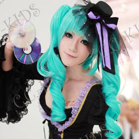 Blue Vocaloid Hatsune Miku Semi-Long Nylon Curly Cosplay Wig