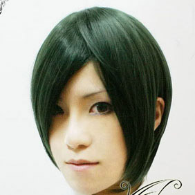 Green&Black Short Nylon Cosplay Wig