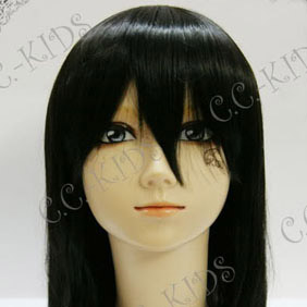 Black Mid-Long Nylon Straight Cosplay Wig
