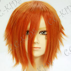 Orange  Short Nylon Curly Cosplay Wig