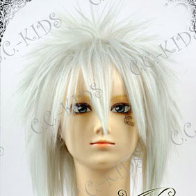 White Mid-Long Nylon Cosplay Wig