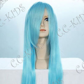 Light Blue Long Nylon Straight Cosplay Wig